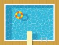 Swimming pool top view with inflatable ring and springboard jump.