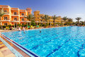 Swimming pool at tropical resort in hurghada egypt three corners sunny beach on april three corners is belgian company with hotels Royalty Free Stock Photography