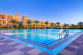 Swimming pool of tropical resort in hurghada at night egypt Stock Photo