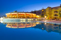 Swimming pool of tropical resort in hurghada at night egypt Royalty Free Stock Photos