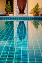 Swimming pool in tropical resort view detail in Thailand Stock Image