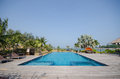 Swimming pool in tropical style resort beautiful villa Royalty Free Stock Image