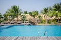 Swimming pool in tropical style resort beautiful villa Royalty Free Stock Photos