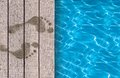 Swimming pool and wooden deck ideal for backgrounds Stock Image