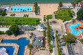 Swimming pools at the beach. Top view. Royalty Free Stock Photos