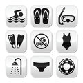 Swimming scuba diving sport buttons set black healthy lifestyle Stock Photography