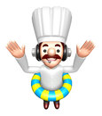 A swimming tubes in d chef character work and job character de design series Stock Photo