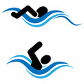 Swimming vector illustration of logo Stock Photos