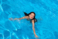 Swimming woman pretty in a pool on a hot day Royalty Free Stock Image