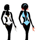 Swimsuit monokini silhouette vector illustration of two women silhouettes in swimsuits Royalty Free Stock Images