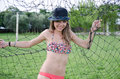 Swimsuit photo shoot under the field goal post Royalty Free Stock Photo