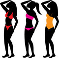 Swimsuit Silhouettes 1 Royalty Free Stock Photography