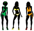 Swimsuit silhouettes vector illustration of three different silhouette women in bikini tankini and monokini swimwear Stock Images