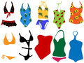 Swimsuits for woman vector illustration of different swimsuit Royalty Free Stock Images
