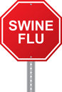 Swine Flu Red Road Sign Royalty Free Stock Photo