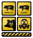 Swine Flu Warning Symbols Stock Photos