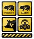Swine Flu Warning Symbols Royalty Free Stock Photo