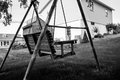 Swing in a backyard Royalty Free Stock Photo