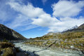 Swing bridge at hooker valley of aoraki mt cook track is one the most popular walks in mount national park new zealand this track Royalty Free Stock Photos