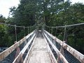 A swing bridge for hikers and bikers Royalty Free Stock Photo
