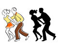 Swing Dance Couple/eps Royalty Free Stock Image