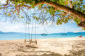 Swing hanging under the tree on the beach at rang yai island phuket thailand Royalty Free Stock Image