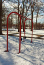 Swing set at a park in kent county michigan Stock Photo