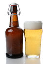 Swing Top Beer Bottle and Glass Royalty Free Stock Photo