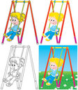 Swinging girl in a playground Stock Image