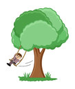Swinging on a tree branch vector illustration conceptual drawing art of cute cartoon boy Stock Photography