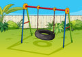 A swinging tyre illustration of in beautiful garden Stock Images