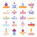 Swipe up. Ui template web elements for social photo blog app vector design