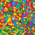 Swirl colorful leaf decoration seamless pattern