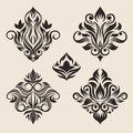 Swirl ornament vector set for pattern and icon culture traditional Royalty Free Stock Photos