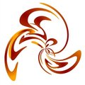 Swirl Swoosh Design Red Gold