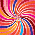 Swirling colorful with dots radial pattern background. Vector illustration for cute pretty circus design. Royalty Free Stock Photo