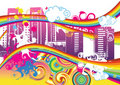 Swirling Rainbow City Royalty Free Stock Images