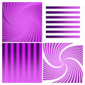 Swirls and stripes purple set abstract Royalty Free Stock Images