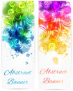 Swirly floral vertical banners Royalty Free Stock Photo