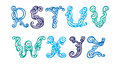 Swirly hand drawn font Stock Images