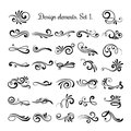 Swirly line curl patterns  on white background. Vector flourish vintage embellishments for greeting cards Royalty Free Stock Photo