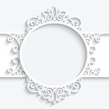 Swirly paper label frame with shadow ornamental on white background Stock Photo