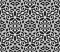 Swirly pattern black and white ornament damask seamless Stock Photos