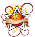 Swirly Star Basketball Illustration Royalty Free Stock Photo