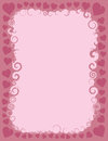 Swirly valentine border a pink intertwined with hearts representing the holiday of st valentines day Royalty Free Stock Images