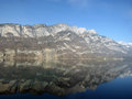 Swiss alpes refection in a lake Royalty Free Stock Image