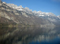Swiss alpes refection in a lake Royalty Free Stock Photography