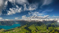 The swiss alps panorama of bernese mountains interlaken and lake thun Royalty Free Stock Images