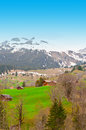 Swiss alps the small village high up in the Royalty Free Stock Image