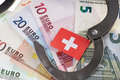 Swiss bank account euro banknotes with handcuffs and flag Royalty Free Stock Photo